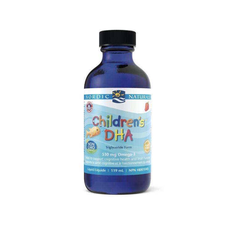 美国Nordic Naturals挪威小鱼儿童液体DHA237毫升 草莓味 深海鳕鱼肝油 保护视力健脑益智