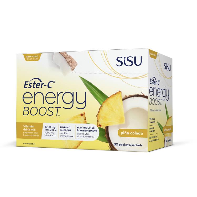 加拿大SISU酯化维生素C能量补充粉 菠萝椰子味 24小时免疫支持 添加B族维生素和电解质 提升精力 超强补水