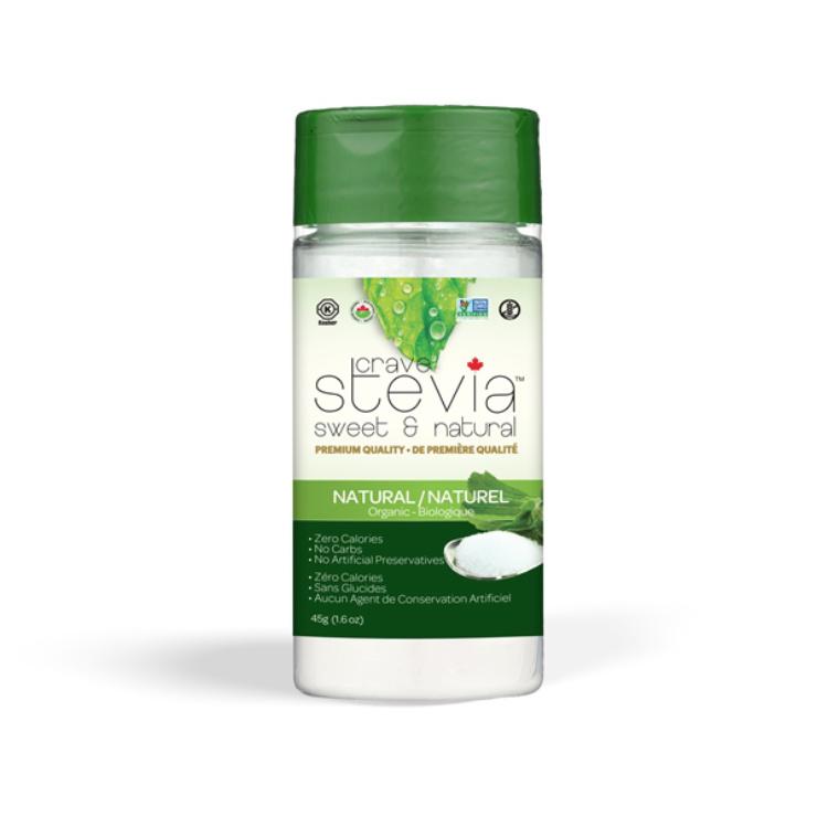 加拿大Crave Stevia有机甜叶菊粉 45克调味瓶装 1.5克相当于2茶匙糖甜度 高血糖及糖尿病人可用