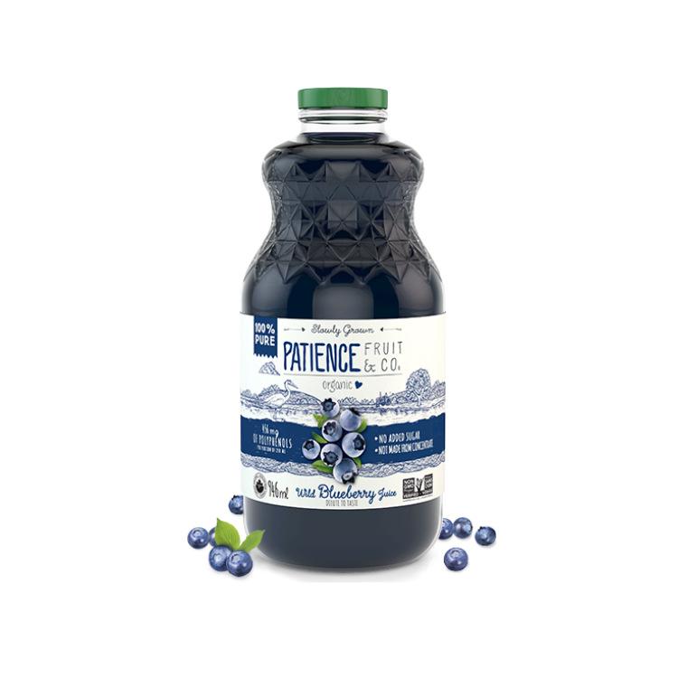 加拿大Patience有机100%野生蓝莓汁 非浓缩汁调配 250毫升含456毫克多酚
