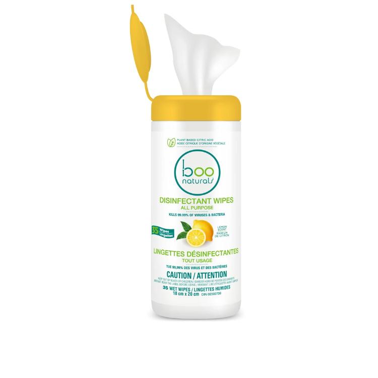 加拿大Boo Bamboo天然消毒湿巾 35抽 柠檬味 加拿大卫生部认证 可杀除99.9%病毒细菌 比A5纸大