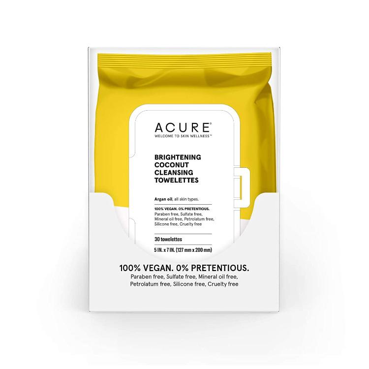 美国Acure亮白系列椰子洁面巾 3包共90抽 可用于卸妆洁面