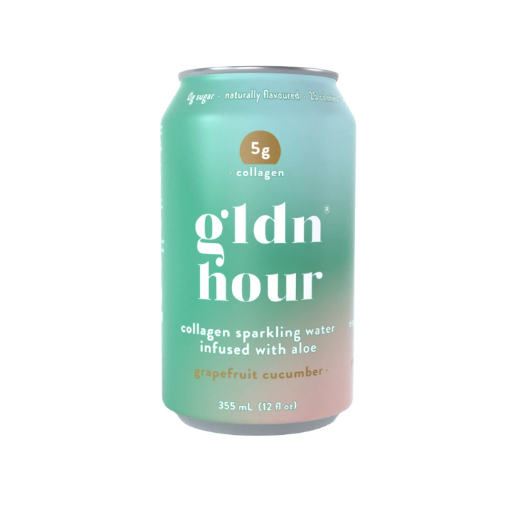 加拿大gldn hour胶原蛋白气泡水 葡萄柚青瓜味 1罐含5克海洋胶原蛋白 无糖低卡 喝出蓬蓬肌