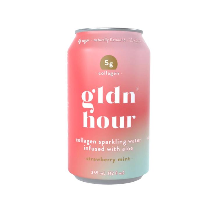 加拿大gldn hour胶原蛋白气泡水 草莓薄荷味 1罐含5克海洋胶原蛋白 无糖低卡 喝出蓬蓬肌