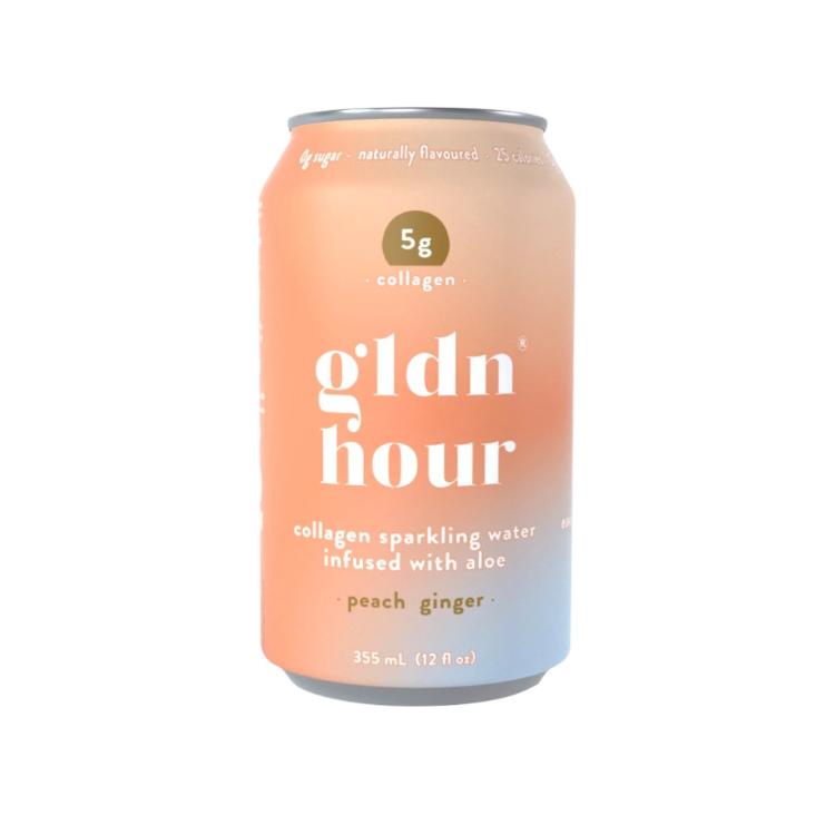 加拿大gldn hour胶原蛋白气泡水 白桃姜味 1罐含5克海洋胶原蛋白 无糖低卡 喝出蓬蓬肌