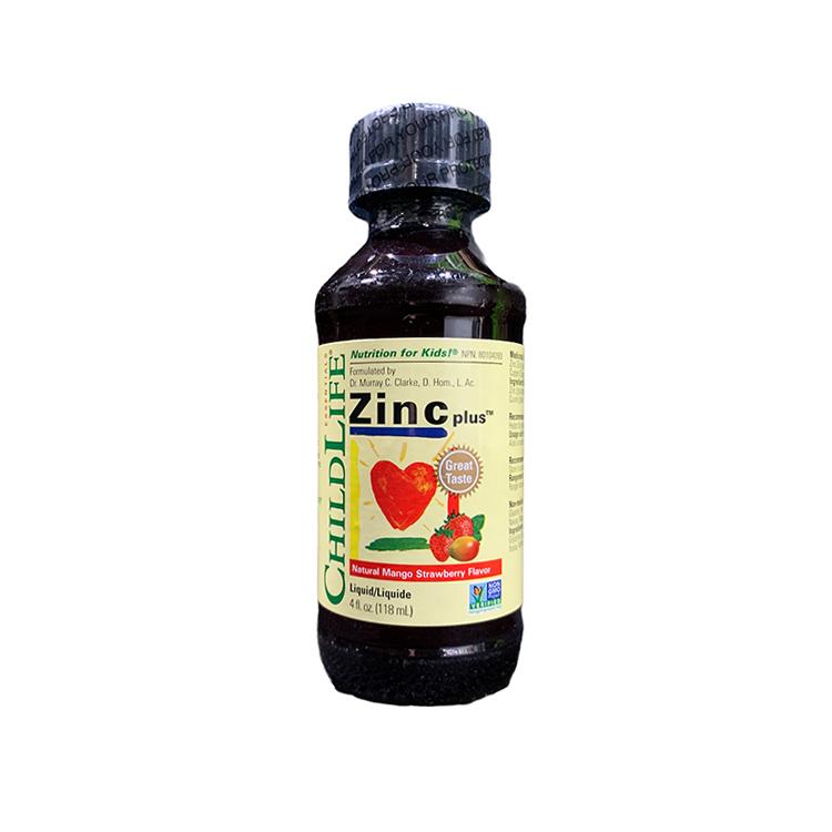 美国ChildLife童年时光液体锌 婴幼儿专用补锌产品 提升抵抗超强防御 天然芒果草莓味