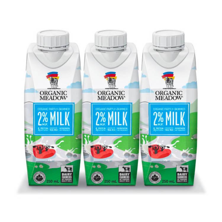 加拿大Organic Meadow 2%有机牛奶 草饲高钙高营养 满分饮品选择 250毫升x3包组合装 原味