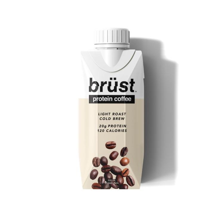 加拿大brust蛋白冷萃咖啡 355ml 浅度烘培版 每份含20克新西兰草饲牛蛋白质 每瓶100卡 健身者最佳伴侣