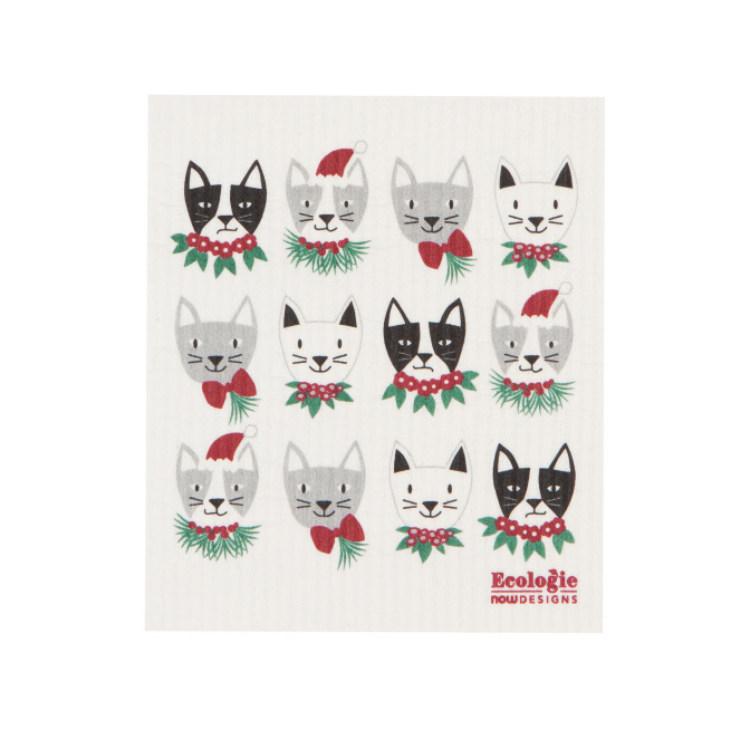 瑞典Ecologie天然神奇清洁布-猫的圣诞节 Now Designs作品 可水洗/机洗 15倍吸水能力 不易生霉/异味